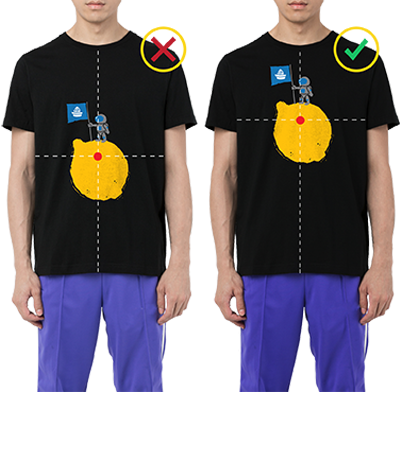 custom guidelines, t-shirt displacement