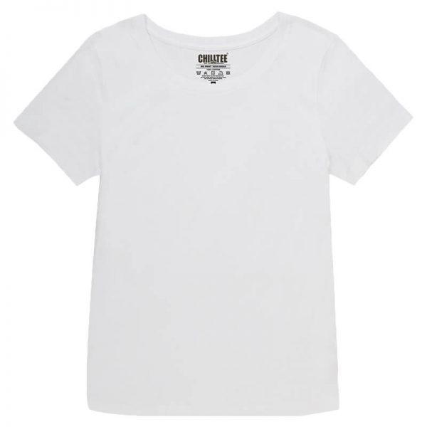 Women White Crew T-shirt Front View