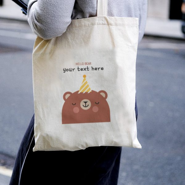 Hello Bear Canvas Tote-bag Freesize, Custom our iTee template and make it yours. Model View