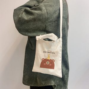 Hello Bear Mini Canvas Tote-bag, Custom our iTee template and make it yours. Model View