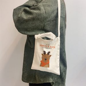 Deer Christmas Mini Canvas Tote-bag, Custom our iTee template and make it yours. Model View