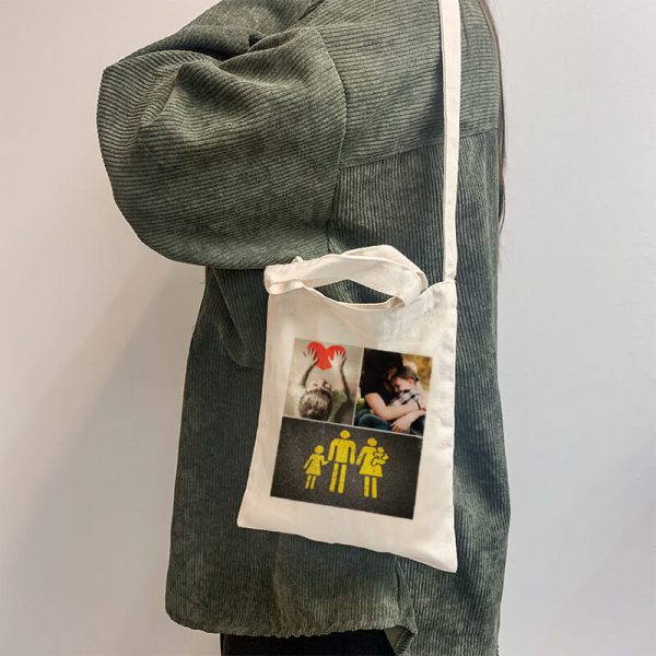 3 Photo Collage Mini Canvas Tote-bag, Custom our iTee template and make it yours. Model View