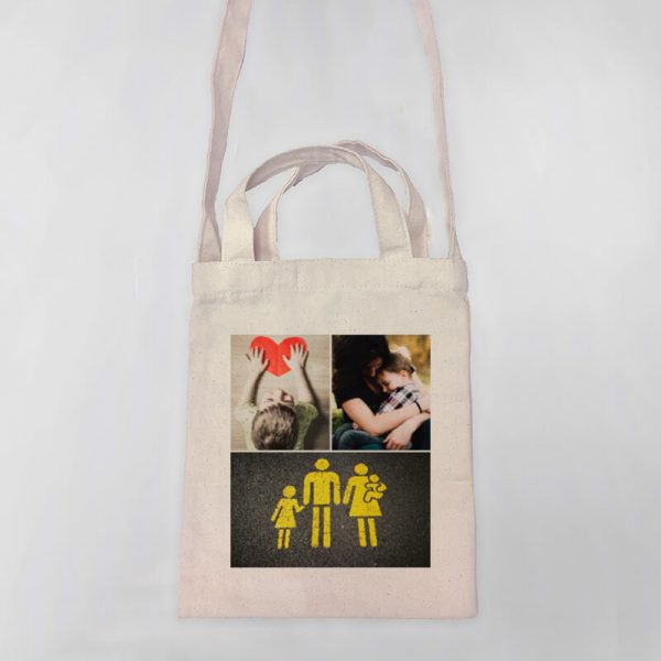 3 Photo Collage Mini Canvas Tote-bag, Custom our iTee template and make it yours. Product View
