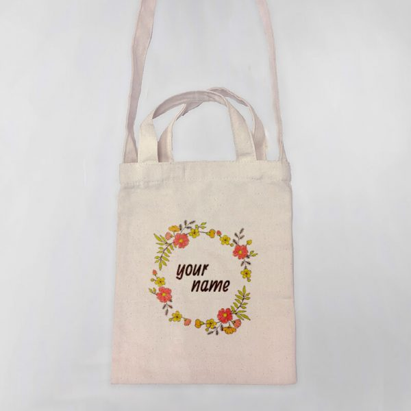 Floral Wreath Mini Canvas Tote-bag, Custom our iTee template and make it yours. Product View