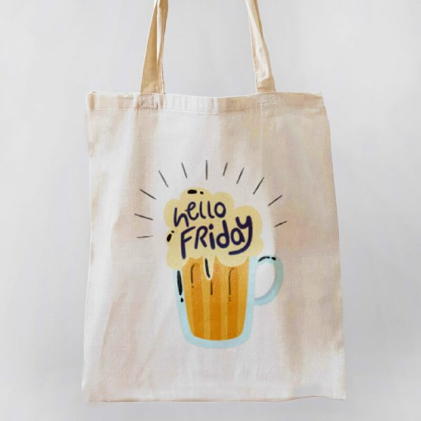 Hello Friday Canvas Tote-bag Freesize, Custom our iTee template and make it yours. Product View