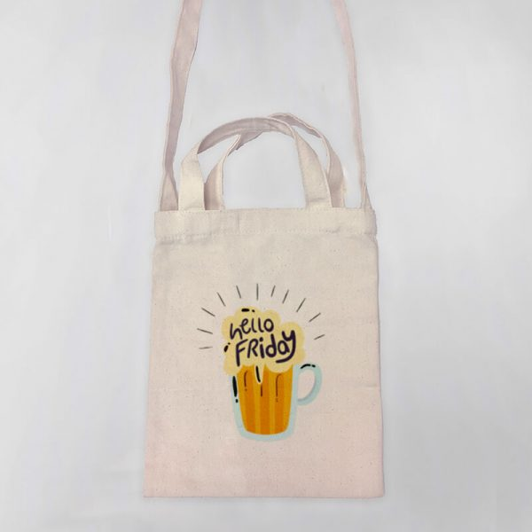 Hello Friday Mini Canvas Tote-bag, Custom our iTee template and make it yours. Product View