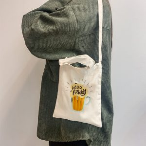 Hello Friday Mini Canvas Tote-bag, Custom our iTee template and make it yours. Model View