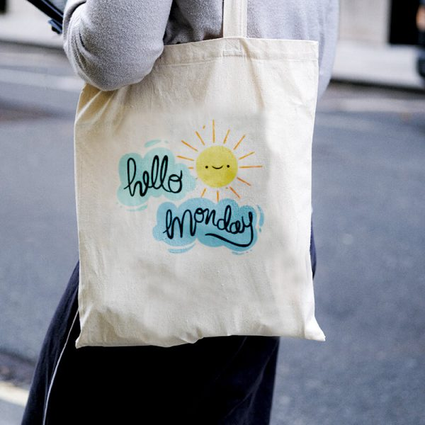 Hello Monday Canvas Tote-bag Freesize, Custom our iTee template and make it yours. Model View