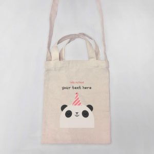 Hello Panda Mini Canvas Tote-bag, Custom our iTee template and make it yours. Product View