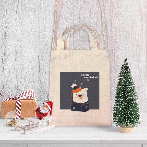 Winter Wonderland Mini Canvas Tote-bag, Custom our iTee template and make it yours. Product View