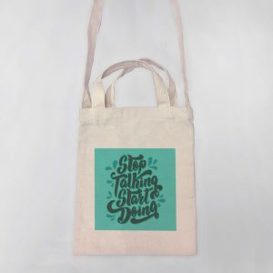 Stop Talking, Start Doing Mini Canvas Tote-bag, Custom our iTee template and make it yours. Product View