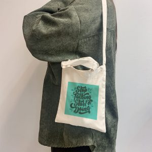 Stop Talking, Start Doing Mini Canvas Tote-bag, Custom our iTee template and make it yours. Model View