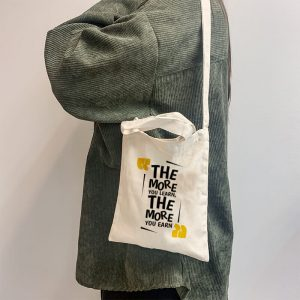 The More You Learn, The More Your Earn Mini Canvas Tote-bag, Custom our iTee template and make it yours. Model View