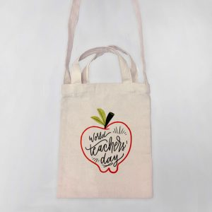 World's Teacher Day Mini Canvas Tote-bag, Custom our iTee template and make it yours. Product View