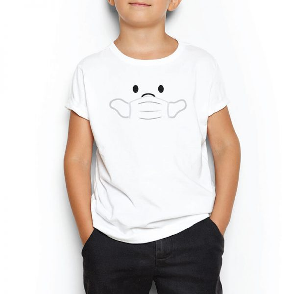 Custom your Wear My Mask White T-shirt Template, Boy Model View