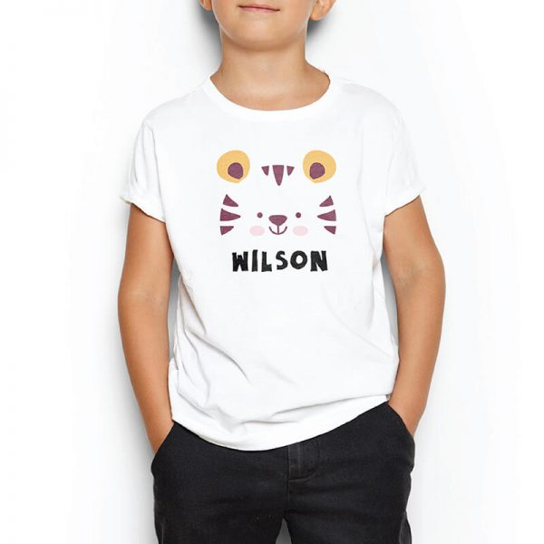 Custom your Tiger Roar Roar White T-shirt Template, Boy Model View