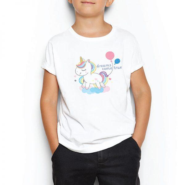 Custom your I want a unicorn White T-shirt Template, Boy Model View