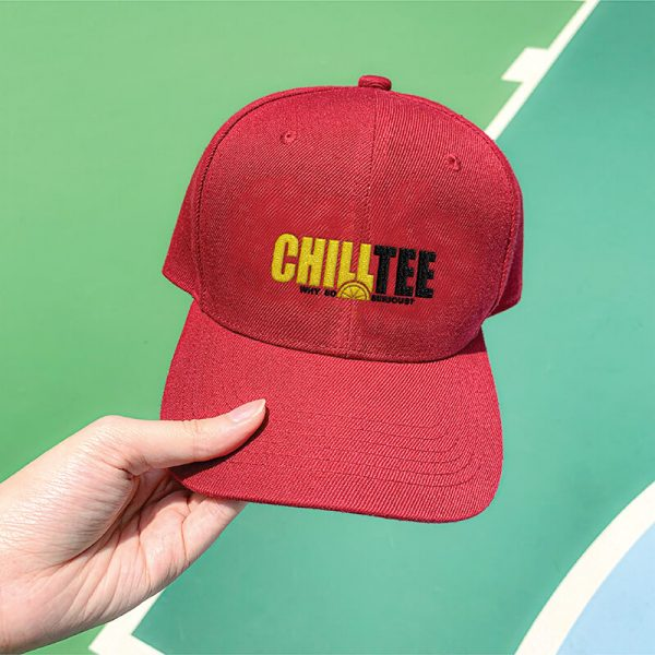 ChillTee Logo Wine Red Embroidered Cap, Custom our iTee template. Model View