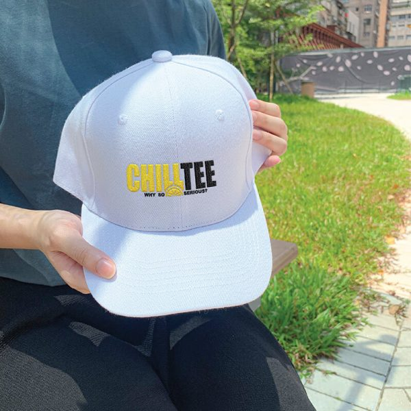ChillTee Logo White Embroidered Cap, Custom our iTee template. Model View