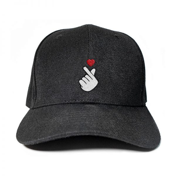 Finger Heart in Black Embroidered Cap, Custom our iTee template and make it yours. Product View