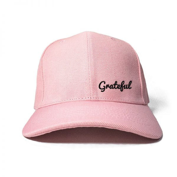 Grateful in Baby Pink Embroidered Cap, Custom our iTee template and make it yours. Product View