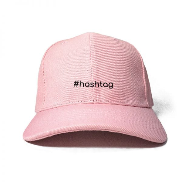 #hashtag in Baby Pink Embroidered Cap, Custom our iTee template and make it yours. Product View