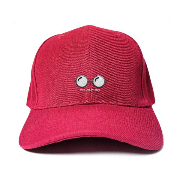 Nerdy Face in Wine Red Embroidered Cap, Custom our iTee template and make it yours. Product View
