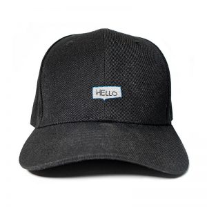 Say Hello! in Black Embroidered Cap, Custom our iTee template and make it yours. Product View