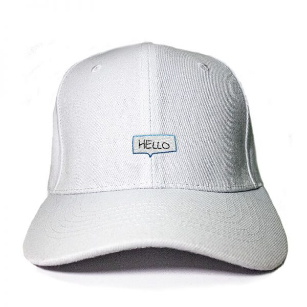 Say Hello! in White Embroidered Cap, Custom our iTee template and make it yours. Product View