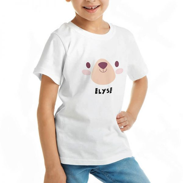 Custom your My Bear Cuddle White T-shirt Template, Girl Model View