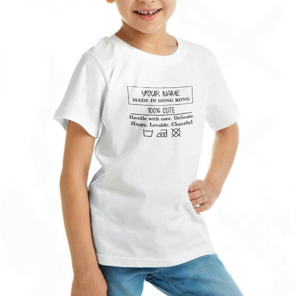 Custom your My Wash Care Instruction White T-shirt Template, Girl Model View