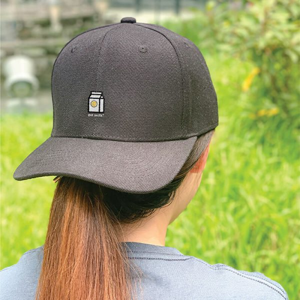 Got Milk! Black Embroidered Cap, Custom our iTee template and make it yours. Model View