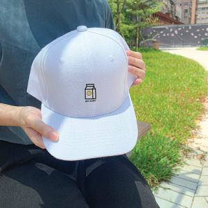 Got Milk! White Embroidered Cap, Custom our iTee template and make it yours. Model View