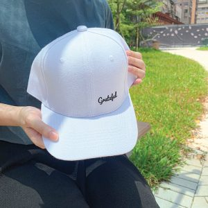Grateful White Embroidered Cap, Custom our iTee template and make it yours. Model View