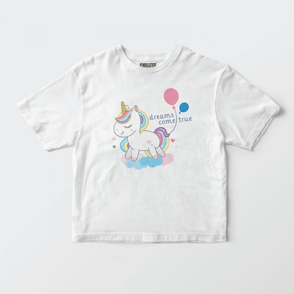 Custom your I want a unicorn White T-shirt Template, Front Product View