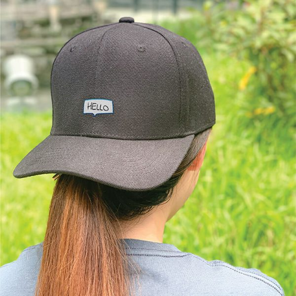 Say Hello! in Black Embroidered Cap, Custom our iTee template and make it yours. Model View