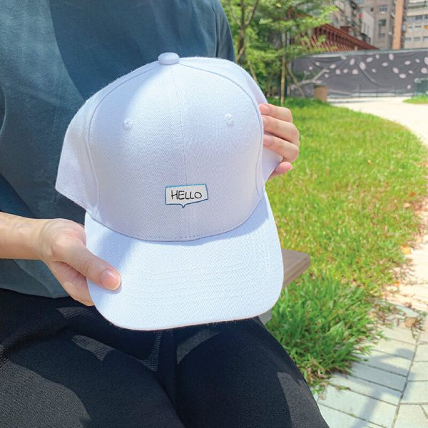 Say Hello! in White Embroidered Cap, Custom our iTee template and make it yours. Model View