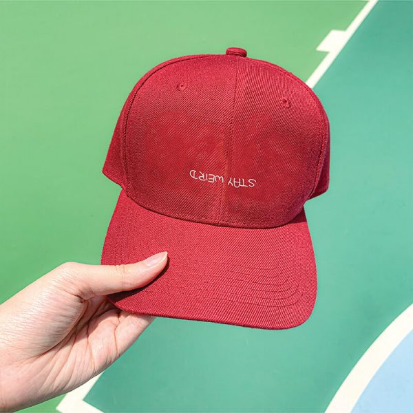 Stay Weird in Wine Red Embroidered Cap, Custom our iTee template and make it yours. Model View