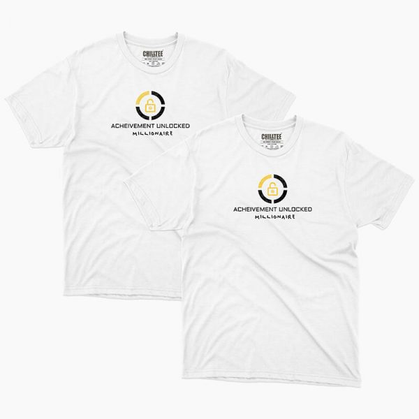 Custom your Achievement Unlocked White Unisex Crew T-shirt Template, Front Product View