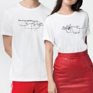 Custom your Pinky Promise White Unisex Crew T-shirt Template, Model