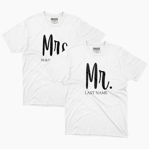 Custom your Mrs & Mr White Unisex Crew T-shirt Template, Front Product View