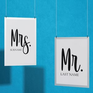 Create your Mr & Mrs Couple T-shirt Thumbnail, Custom our iTee template and make it yours.