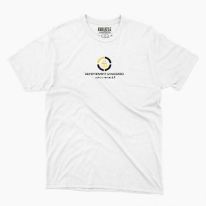 Custom your Achievement Unlocked White Unisex Crew T-shirt Template, Front Product View for Men and Women