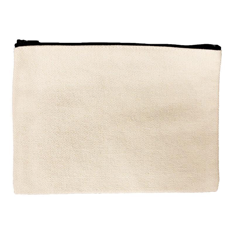 Beige Zipper Pouch Bag